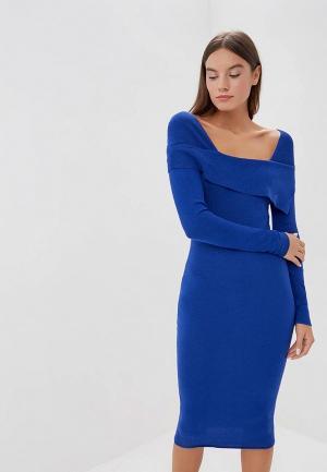 Платье LOST INK FOLD OVER BODYCON DRESS. Цвет: синий