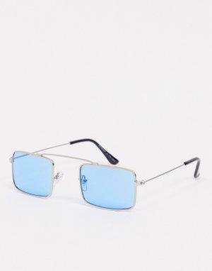 Квадратные узкие солнцезащитные очки с голубыми стеклами в серебристой оправе -Серебристый AJ Morgan
