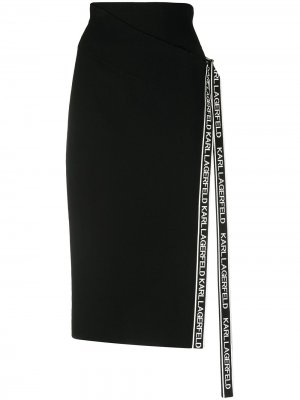 Трикотажная юбка с запахом Karl Lagerfeld. Цвет: черный