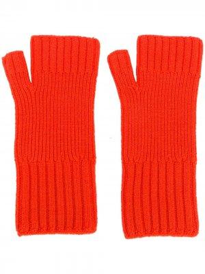 Перчатки в рубчик без пальцев AMI Paris. Цвет: красный