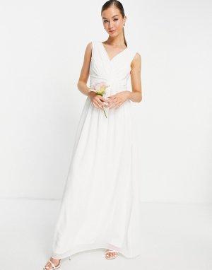 Белое свадебное платье макси с V-образным вырезом -Белый Little Mistress