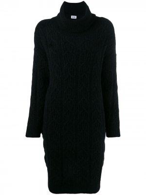 Платье-свитер с фактурной вязки Each X Other. Цвет: черный