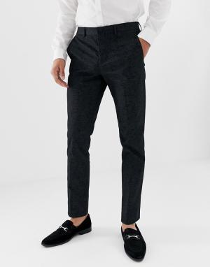 Облегающие жаккардовые брюки премиум-класса для смокинга с принтом пейсли Jack & Jones. Цвет: черный