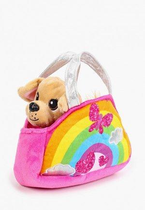 Игрушка мягкая Мой Питомец Собачка в радужной сумочке с аппликацией, 15 см. Цвет: разноцветный