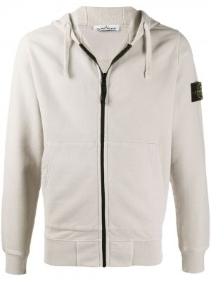 Cotton zip-front hoodie with logo patch Stone Island. Цвет: нейтральные цвета