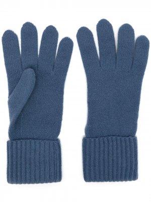 Кашемировые перчатки в рубчик N.Peal. Цвет: синий