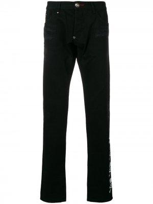 Джинсы узкого кроя с монограммой и рваными деталями Philipp Plein. Цвет: черный