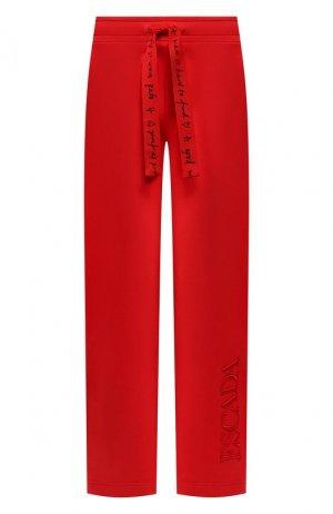 Хлопковые брюки Escada Sport. Цвет: красный