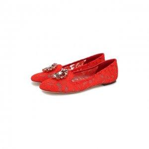 Текстильные слиперы Rainbow Lace Dolce & Gabbana. Цвет: красный