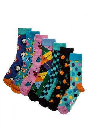 Комплект носков HAPPY SOCKS. Цвет: бирюзовый, голубой, горошек