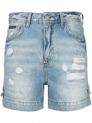 Джинсовые шорты Iconic Pins Philipp Plein. Цвет: синий