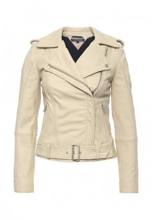 Куртка кожаная Tommy Hilfiger. Цвет: бежевый