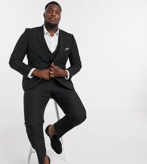 Однотонный узкий пиджак Plus-Черный цвет Harry Brown