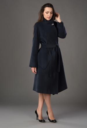 Кашемировое длинное демисезонное пальто Bella Bicchi. Цвет: синий