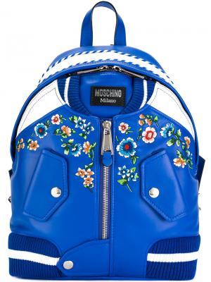 Рюкзак в форме куртки бомбер Moschino. Цвет: синий