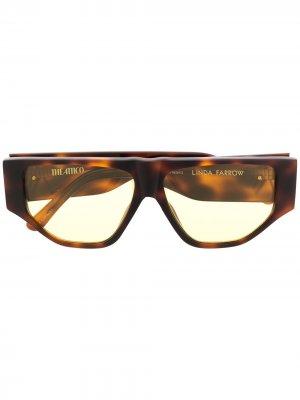 Солнцезащитные очки в геометричной оправе Linda Farrow. Цвет: коричневый