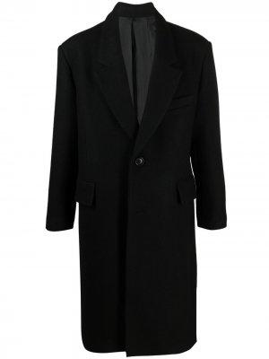 Однобортное пальто AMI Paris. Цвет: черный