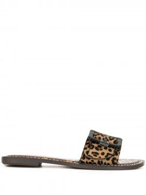 Шлепанцы Granada с леопардовым принтом Sam Edelman. Цвет: коричневый