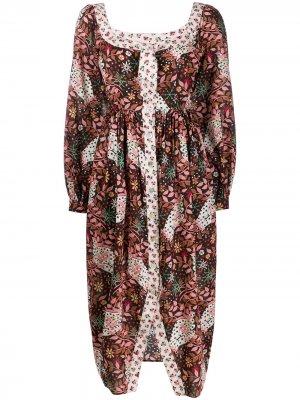 Платье Ianthe Valentine с цветочным принтом Liberty London. Цвет: черный