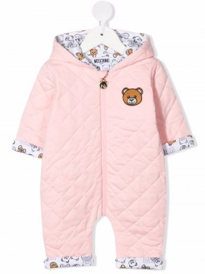 Стеганый ромпер Teddy Bear Moschino Kids. Цвет: розовый