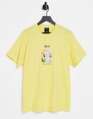 Желтая футболка с надписью Born To Die -Желтый HUF