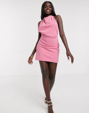 Розовое платье-халтер мини с открытой спиной -Розовый цвет Finders Keepers