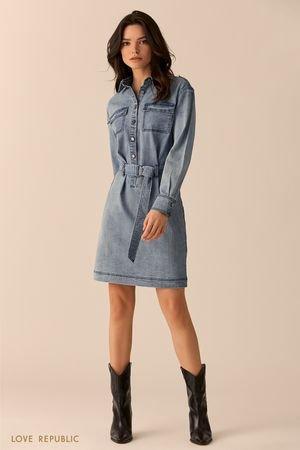 Джинсовое платье-рубашка цвета голубой индиго LOVE REPUBLIC