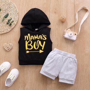 1шт Детская майка с капюшоном и текстовым рисунком шорты SHEIN. Цвет: многоцветный
