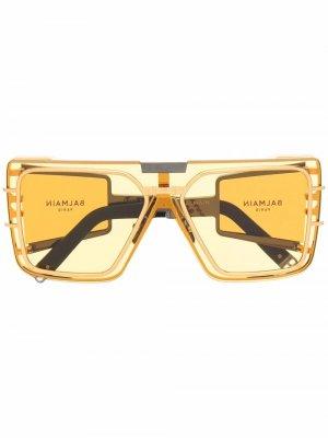 Солнцезащитные очки Wonder Boy в массивной оправе Balmain Eyewear. Цвет: серебристый