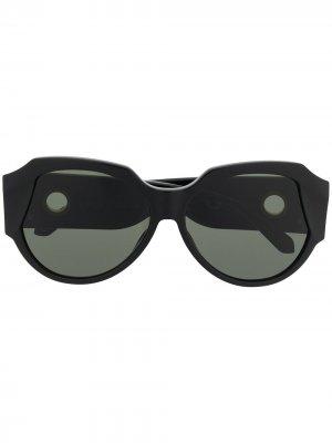 Солнцезащитные очки в массивной оправе Linda Farrow. Цвет: черный