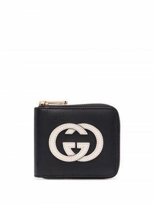 Кошелек с логотипом Interlocking G и круговой молнией Gucci. Цвет: черный