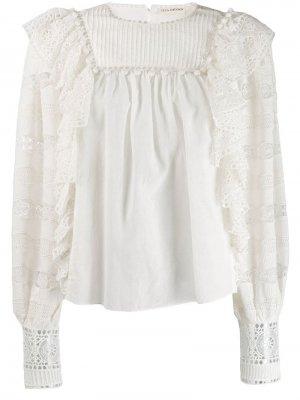 Блузка с оборками и вышивкой Ulla Johnson. Цвет: белый
