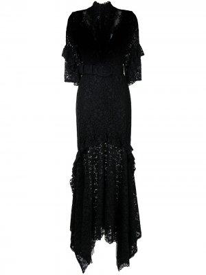 Кружевное вечернее платье Costarellos. Цвет: черный