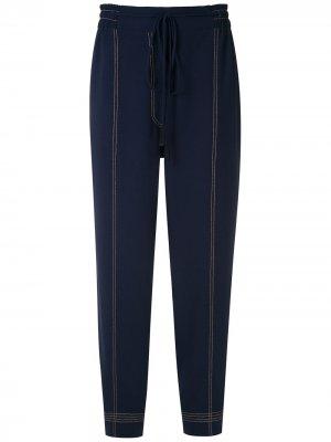 Зауженные брюки с декоративной строчкой Martha Medeiros. Цвет: синий