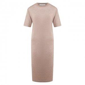 Платье из смеси кашемира и шелка Cruciani. Цвет: бежевый