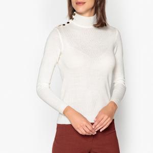 Пуловер с воротником отворотом на кнопках из тонкого трикотажа ROCK BA&SH. Цвет: черный,экрю