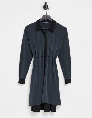 Черное платье-рубашка из комбинированного материала -Черный цвет French Connection
