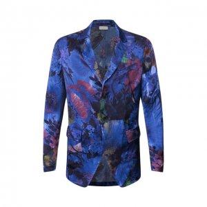 Пиджак из вискозы и шелка Dries Van Noten. Цвет: синий