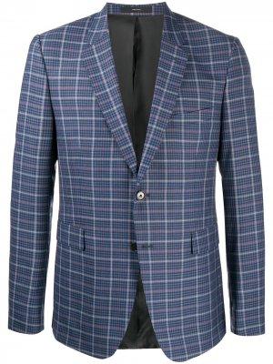 Клетчатый пиджак строгого кроя Paul Smith. Цвет: синий