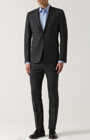 Шерстяной костюм в клетку с пиджаком на двух пуговицах Valentino. Цвет: серый
