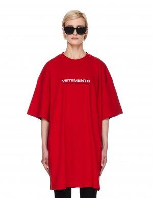Красная футболка с вышивкой Haute Couture Vetements
