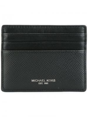 Плоский кошелек для карт Michael Kors. Цвет: черный