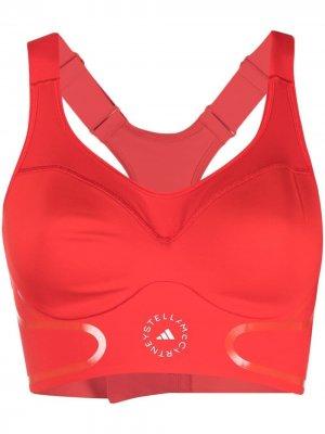 Спортивный бюстгальтер TruePace с высокой степенью поддержки adidas by Stella McCartney. Цвет: красный