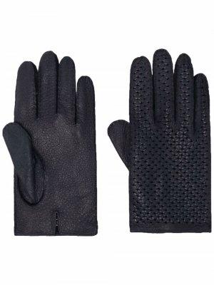 Перчатки с перфорацией Kiton. Цвет: синий