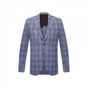 Пиджак из шерсти и шелка Luciano Barbera. Цвет: голубой