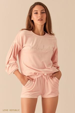 Мягкие мини-шорты цвета пудры на кулиске LOVE REPUBLIC