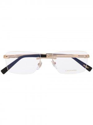 Очки в квадратной оправе Chopard Eyewear. Цвет: золотистый