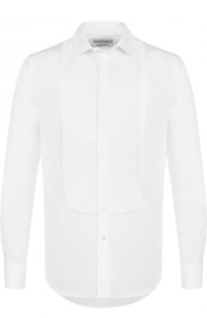 Хлопковая сорочка под смокинг Alexander McQueen. Цвет: белый