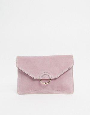Замшевый клатч с кольцом и шариком -Розовый цвет ASOS DESIGN