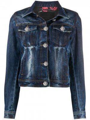 Джинсовая куртка с принтом Philipp Plein. Цвет: синий